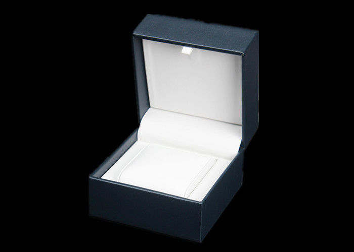 High Grade Plastic Single Watch Box Dark Blue Internal White PU Material
